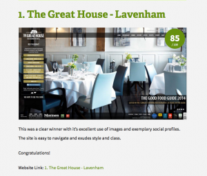 Great House digital accolade